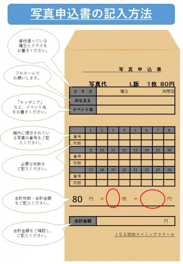 写真申込封筒の記入方法