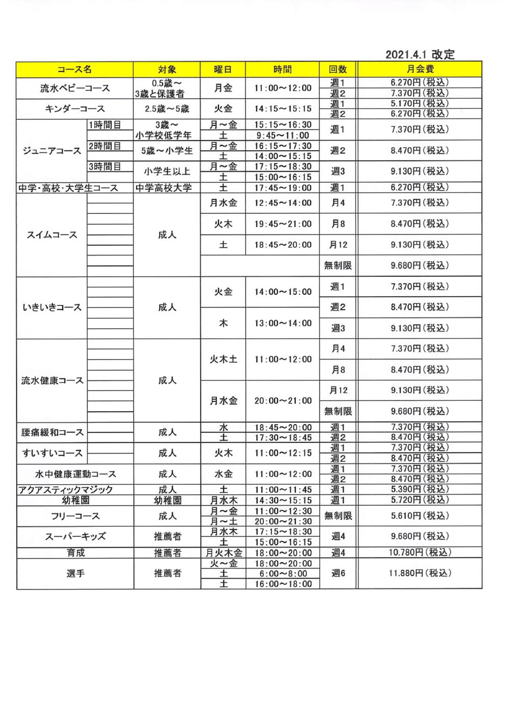 プログラム概要と料金画像